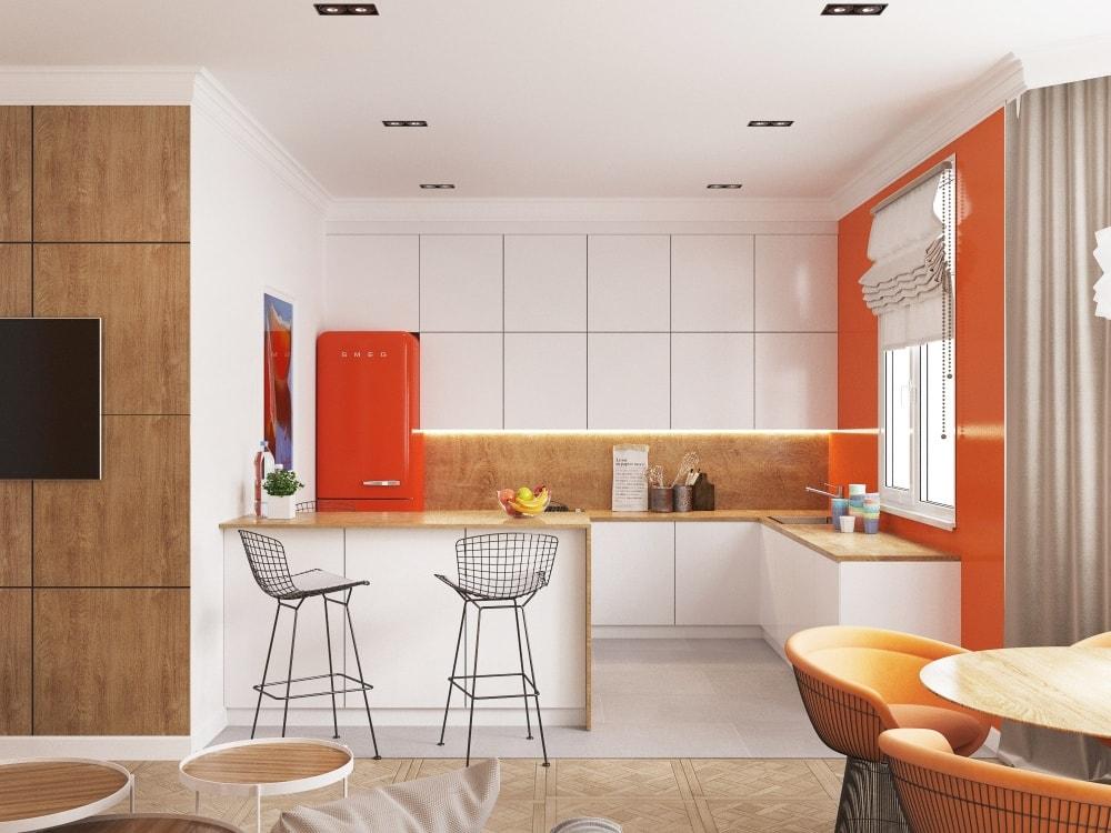 планировка квартиры с присоединенной кухней