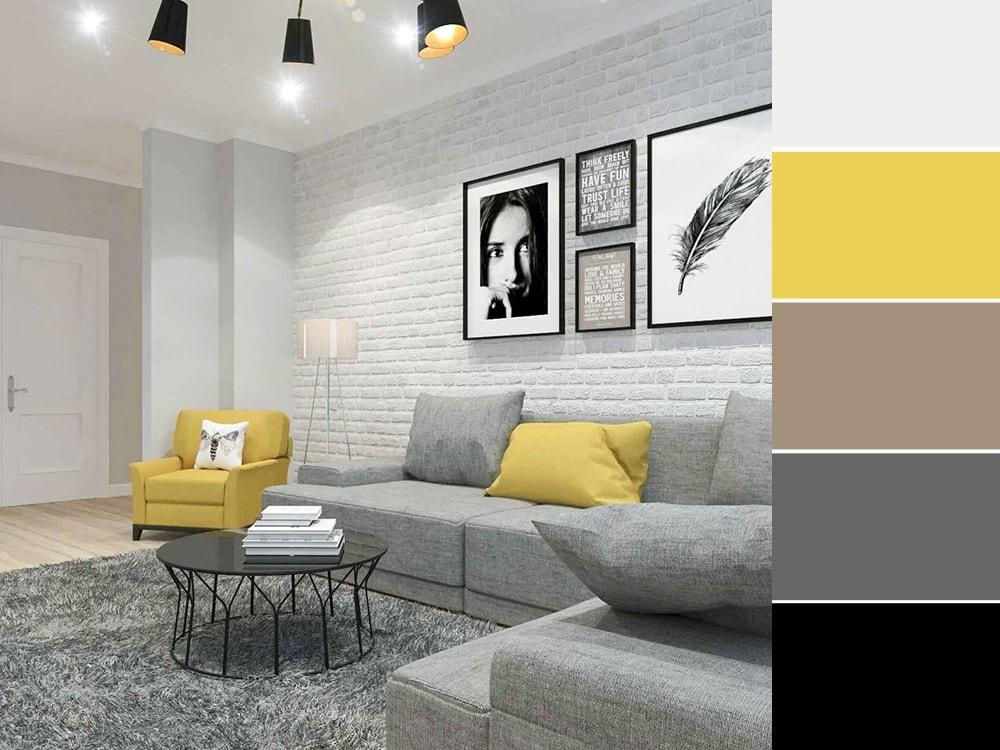 лофт гостиная с контрастным цветом
