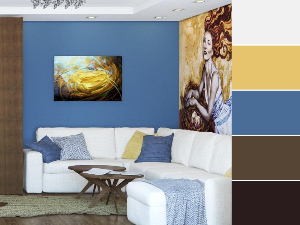 гостиная с контрастной синие стеной