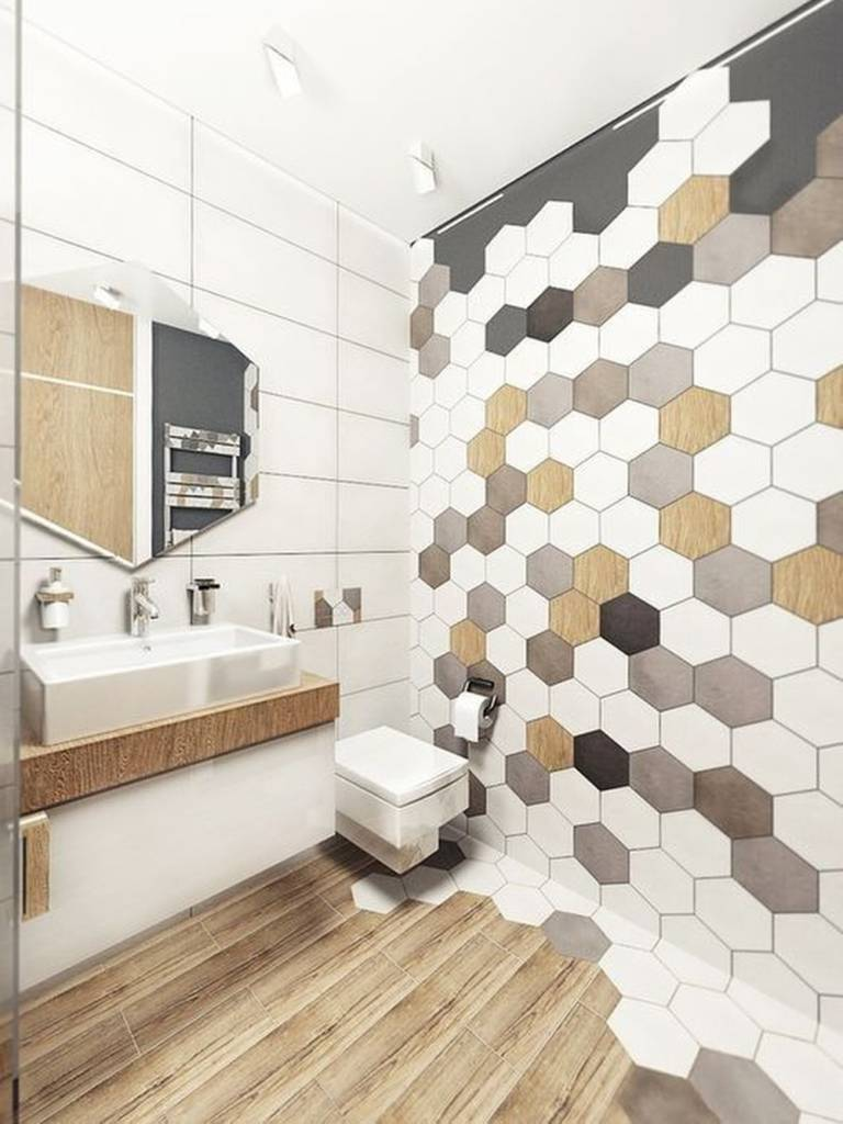 геометрическая плитка в ванной фото
