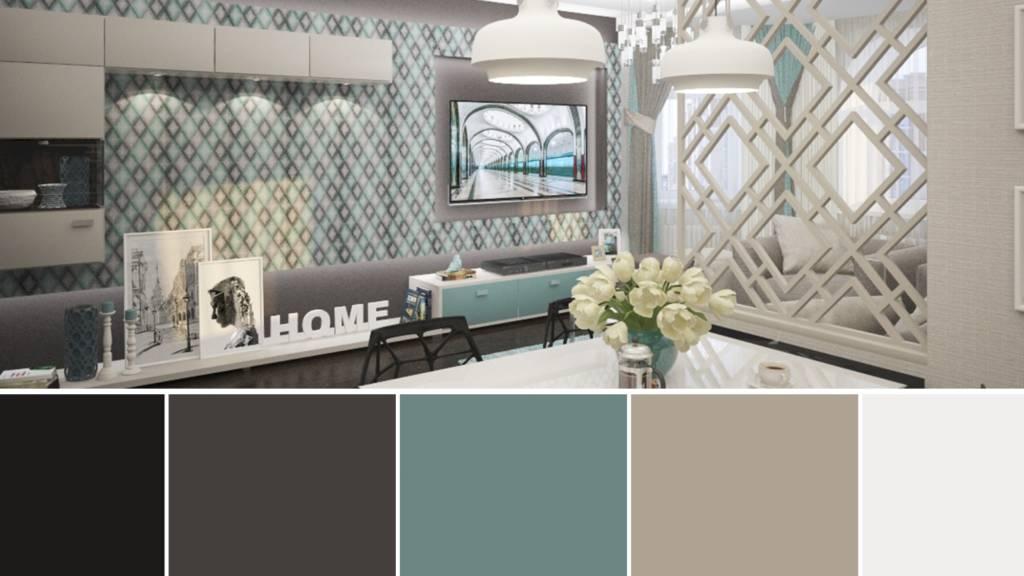 палитра из 5 цветов для интерьера гостиной