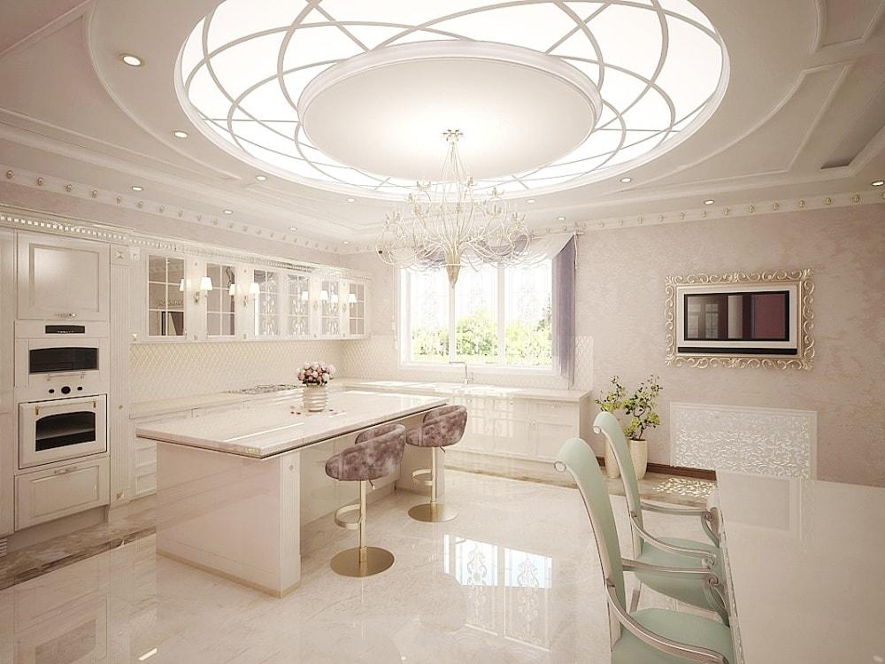 кухня и столовая в роскошном стиле