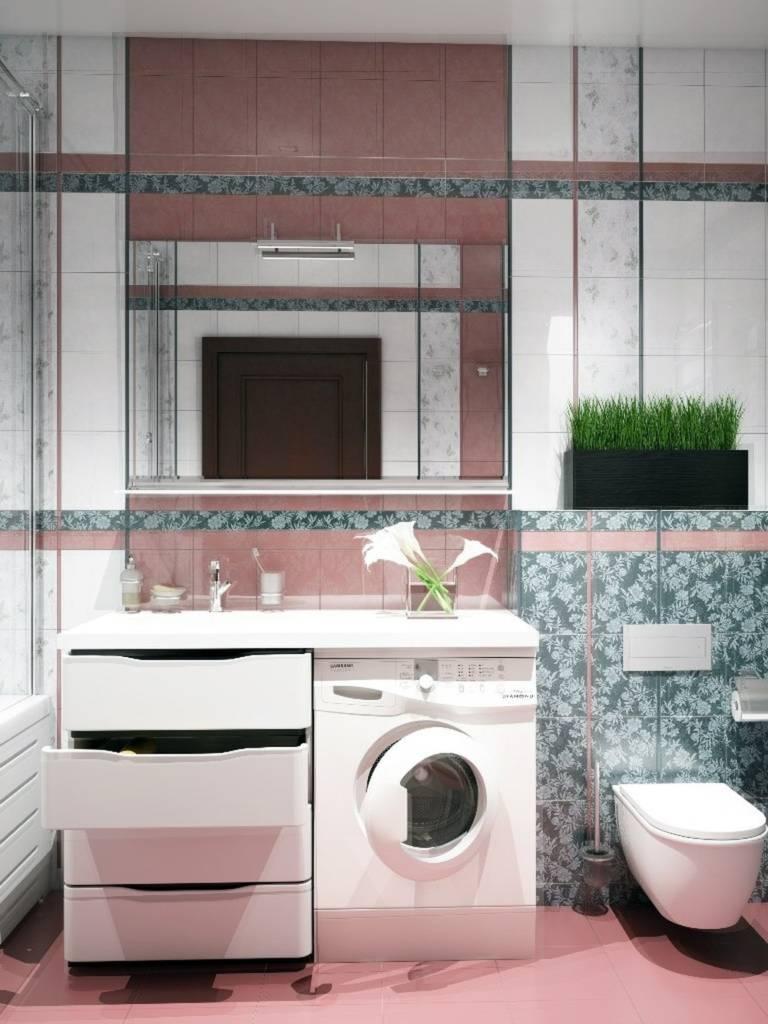 розовый кафель в ванной комнате