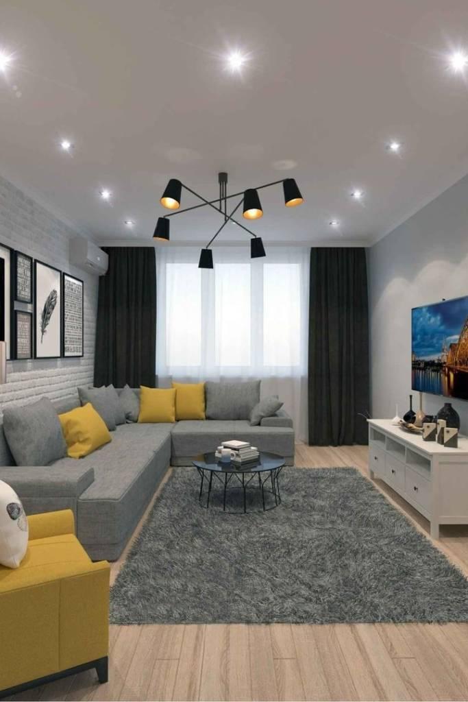 лофт гостиная с желтыми подушками