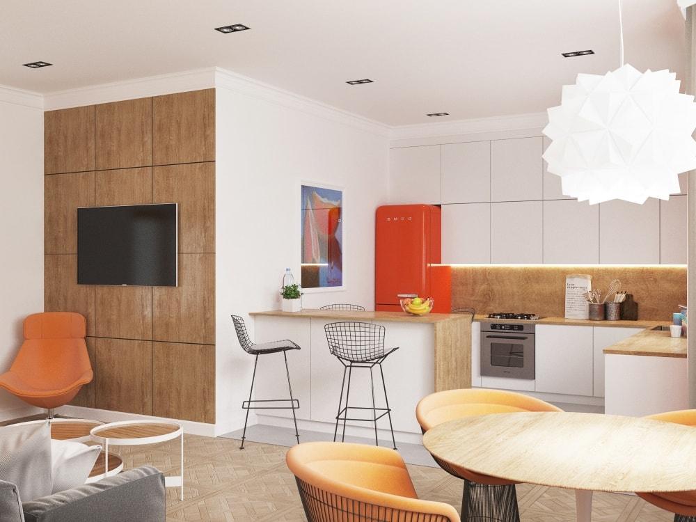 кухня совмещенная с комнатой