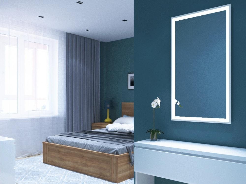 спальня с синими стенами