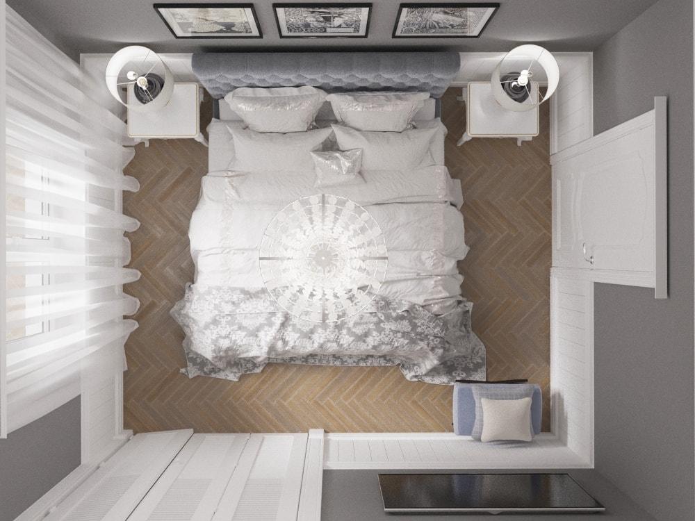 дизайн проект спальни вид сверху