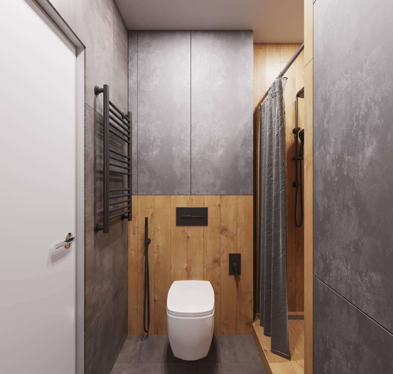 туалет в квартире в стиле лофт