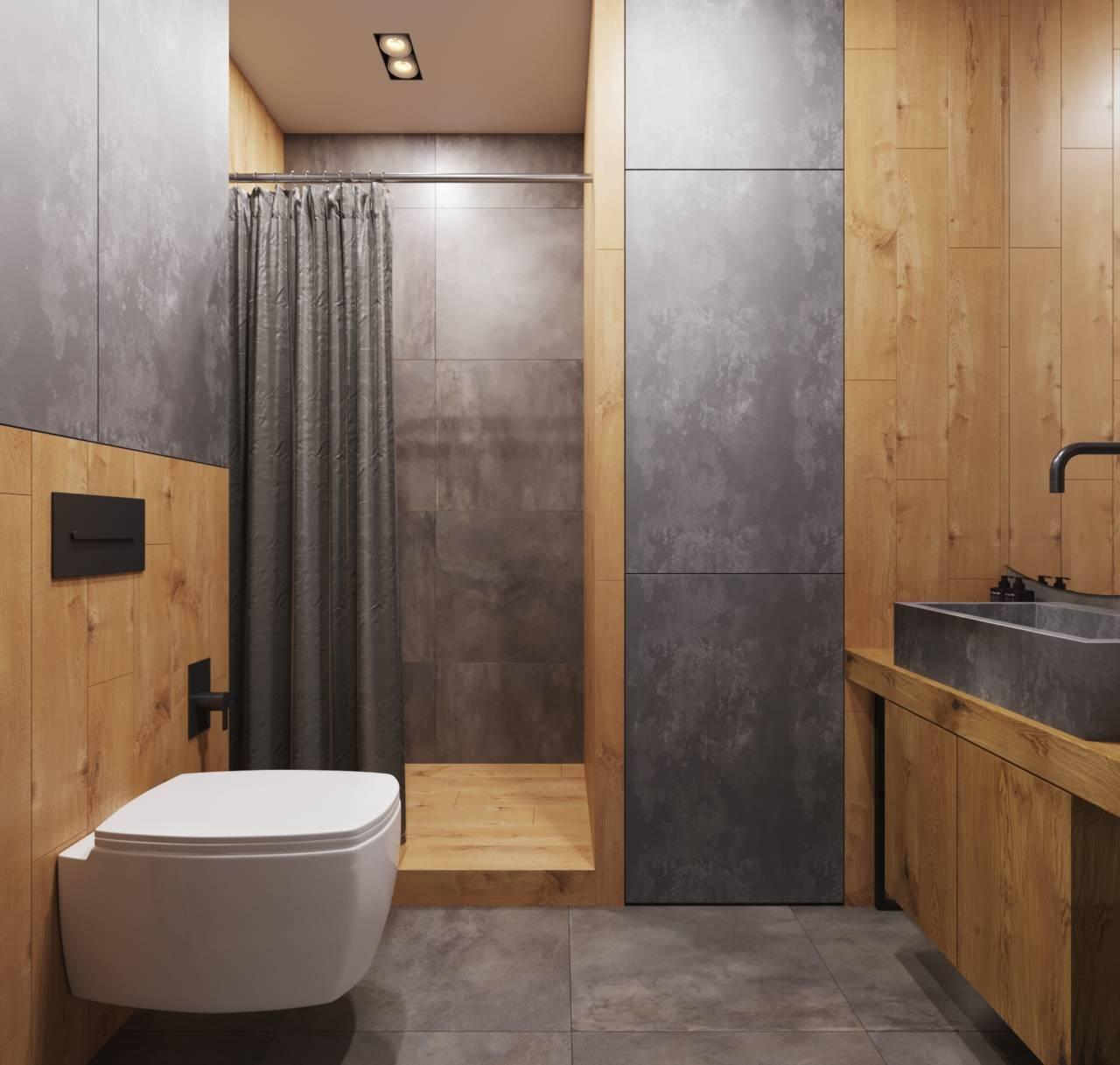 маленький туалет в стиле лофт