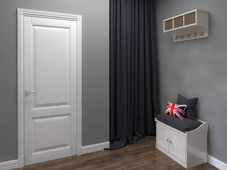 белые двери модерн на серой стене фото гаво