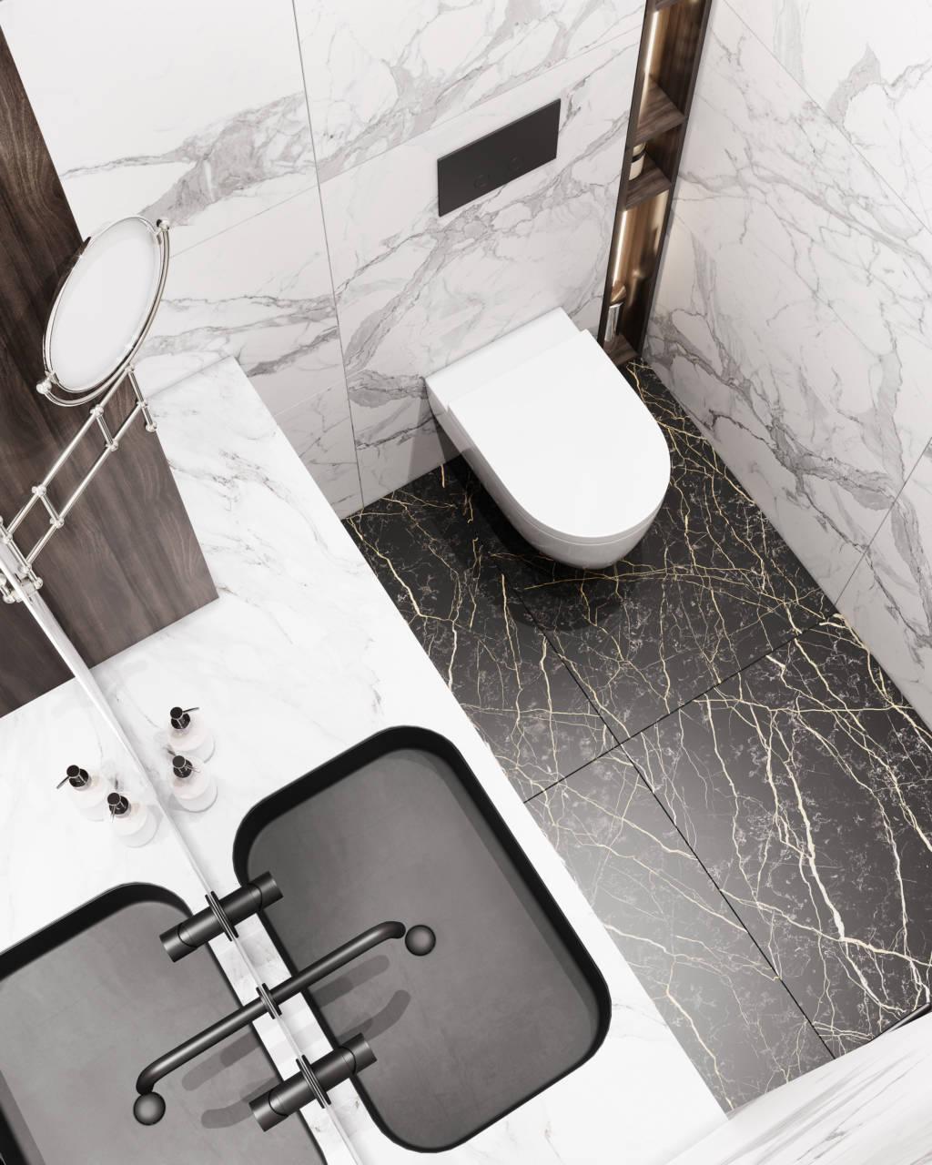 Белая ванная комната с черным полом