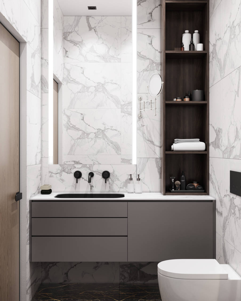 Белая ванная темный пол