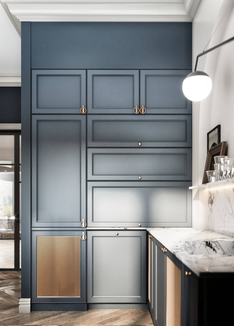 кухня в голубом