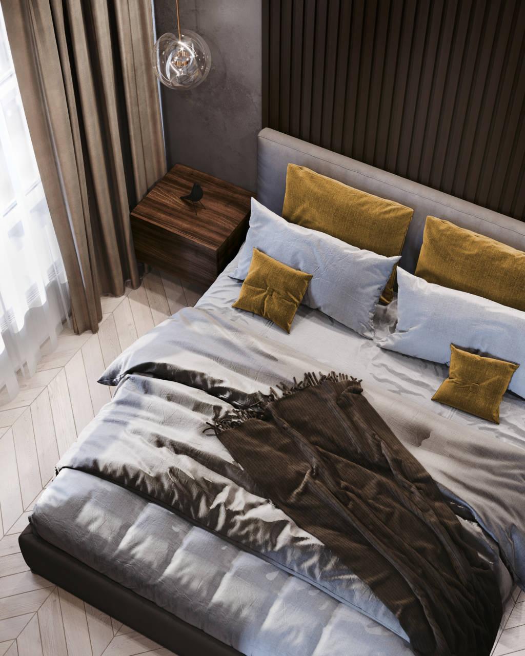 Интерьер спальни темного цвета