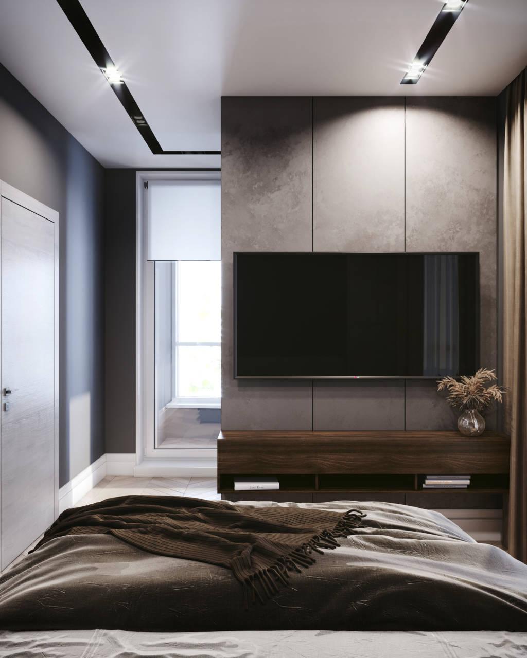 Дизайн спальни с телевизором