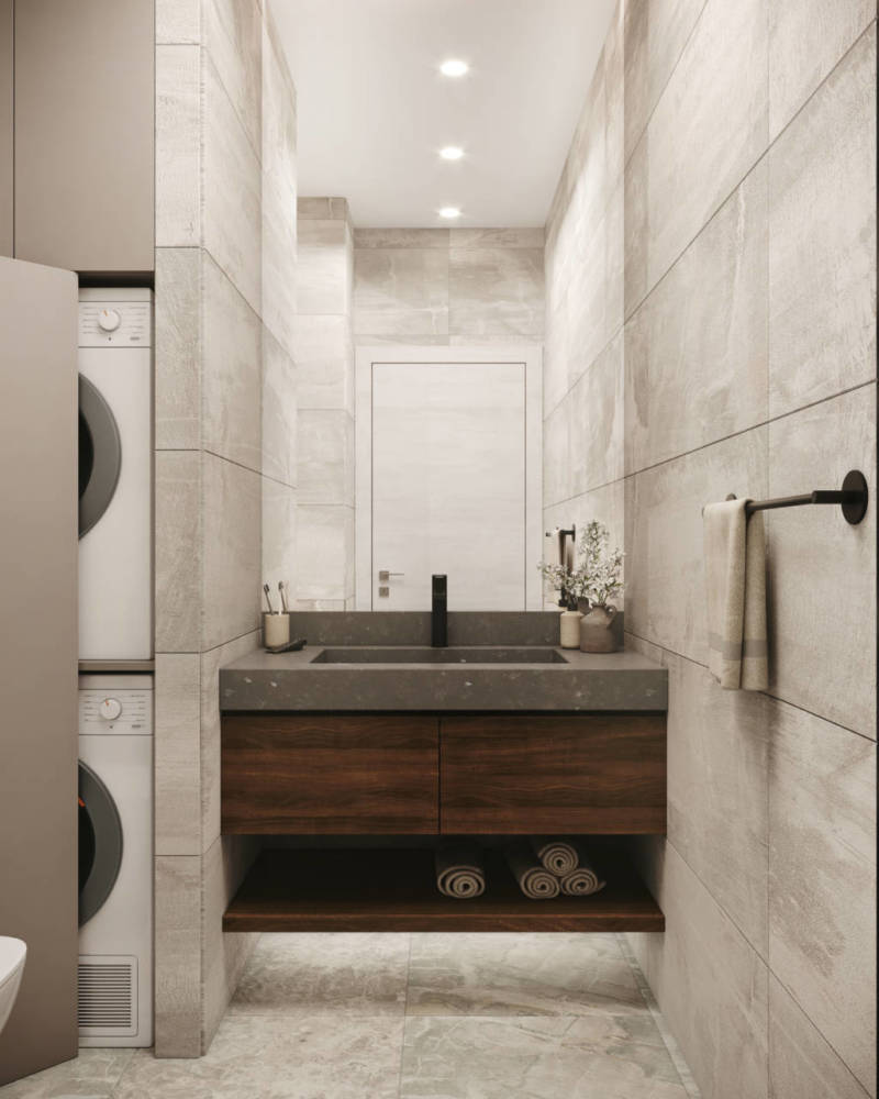 Маленькая светлая ванная